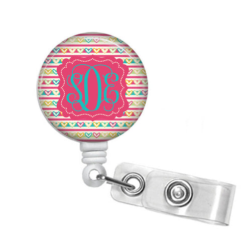 Badge Holder, Retractable Badge Reel, Pink, Yellow Turquoise Open Hearts - Designs by Dee's Hands  - 1
