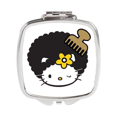 Hello Kitty Afro Pic Duel Compact Mirror or 3 inch Pocket Mirror - Designs by Dee's Hands  - 1