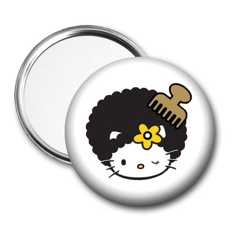 Hello Kitty Afro Pic Duel Compact Mirror or 3 inch Pocket Mirror - Designs by Dee's Hands  - 3