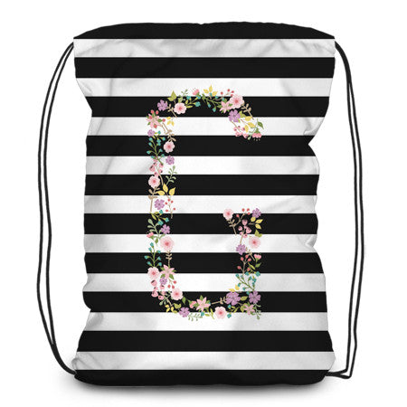 Drawstring backpack, tote - Horizontal Lines and Garden Party - Designs by Dee's Hands