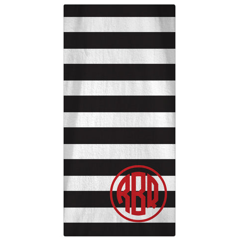 Personalized Beach Towel, Horizontal Lines Monogrammed Towel -  64 Colors - Designs by Dee's Hands  - 1