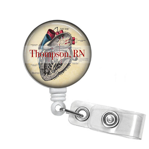 Badge Holder, Retractable Badge Reel Personalized Human Heart - Designs by Dee's Hands  - 1