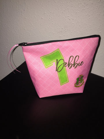 Accessory Bag, Coin Purse, Makeup Pouch, Personalized Zippered Pouch - Alpha Kappa Alpha - Designs by Dee's Hands  - 4