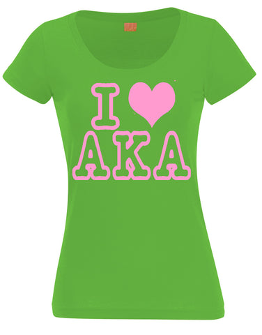 AKA - I Love Alpha Kappa Alpha Ladies Tee - Designs by Dee's Hands  - 1