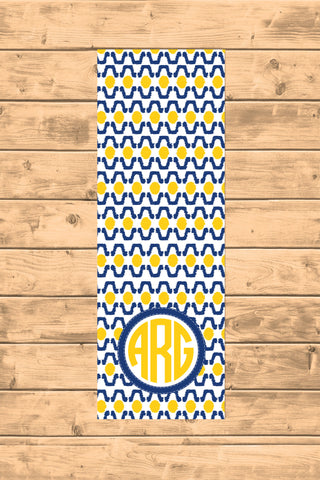 Ikat Eye Yellow and Blue Personalized Yoga Mat - Pilates Mat - Designs by Dee's Hands