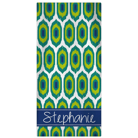 Personalized Beach Towel, Ikat Monogrammed Towel - Designs by Dee's Hands