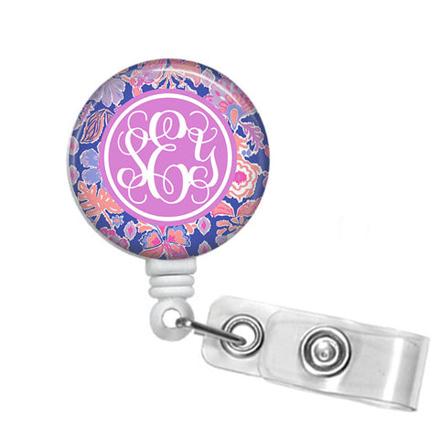 Badge Holder, Retractable Badge Reel - Iris Blue Werk It - Designs by Dee's Hands  - 1
