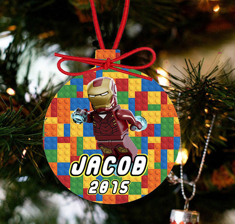 Personalized Christmas Lego Ornament LEGO Movie - IRON MAN - Designs by Dee's Hands