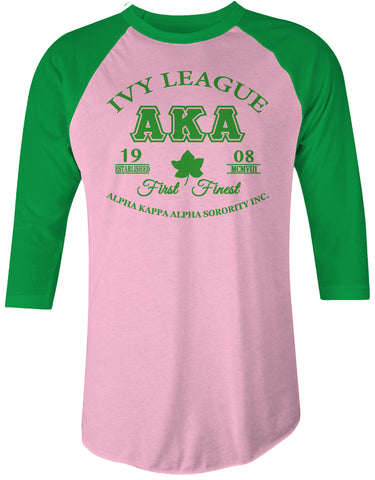 AKA - Pink & Green Raglan Baseball Ladies T Shirt - Alpha Kappa Alpha - Designs by Dee's Hands