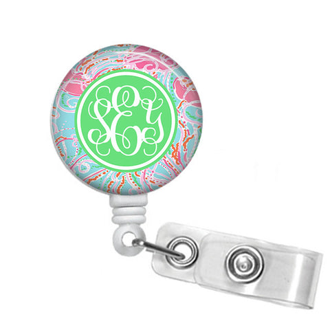 Badge Holder, Retractable Badge Reel - Jellies be Jammin - Designs by Dee's Hands  - 1