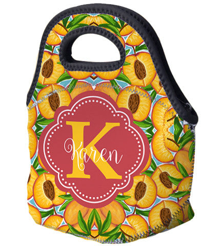 Lunch Tote, Monogrammed Lunch Bag - Just Peachy - Designs by Dee's Hands