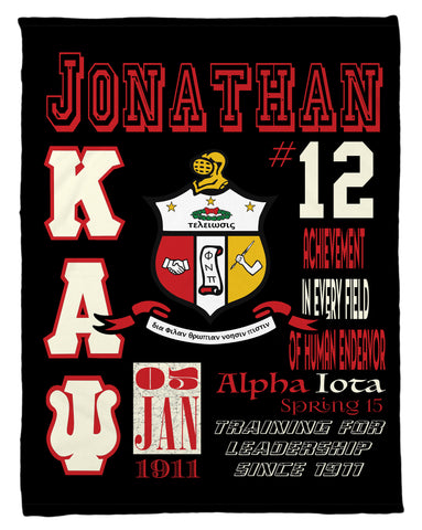 Kappa Alpha Psi Personalized Fleece Blanket - Personalized - NEW LOWER PRICING!!! - Designs by Dee's Hands  - 1
