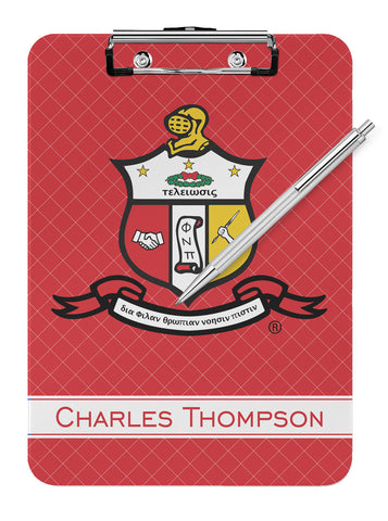 Kappa Alpha Psi Fraternity Personalized Dry Eraseable Clipboard - Designs by Dee's Hands