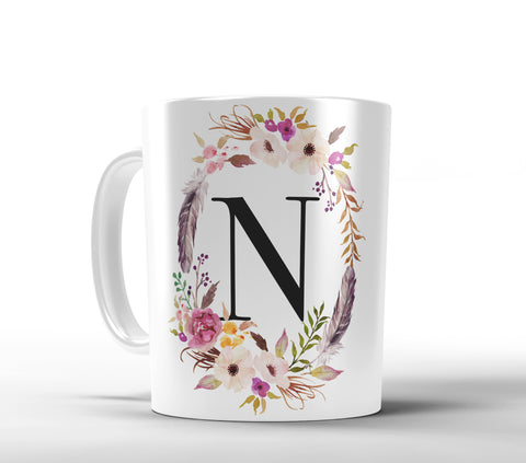 Floral Frame and Initial Mug, Floral - Designs by Dee's Hands