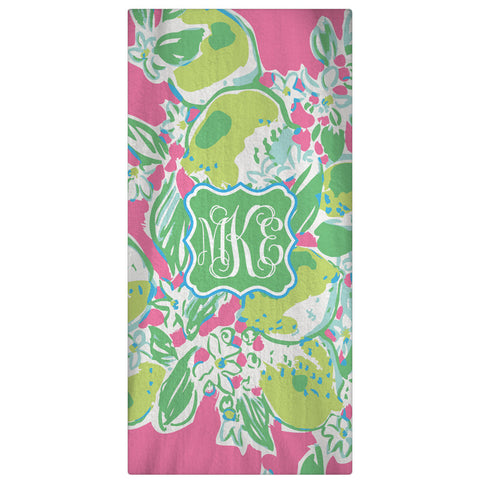 Monogrammed, Personalized Beach Towel Lemonade - Designs by Dee's Hands
