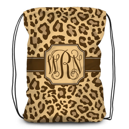 Drawstring backpack, tote - Leopard - Brown - Designs by Dee's Hands