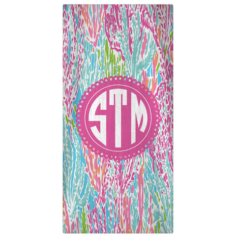 Personalized Beach Towel, Let's Cha Cha Monogrammed Towel 60 x 30 - Designs by Dee's Hands  - 1