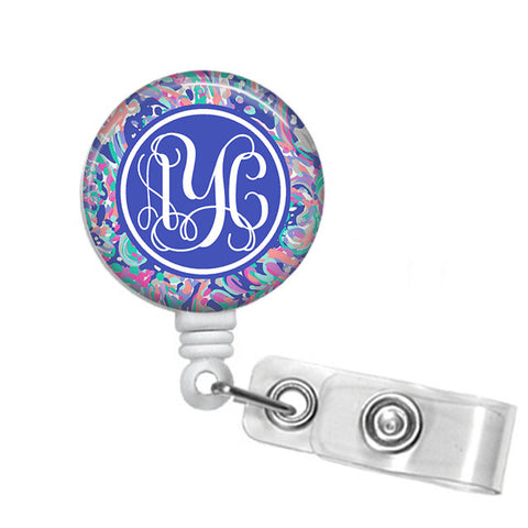 Badge Holder, Retractable Badge Reel - La Playa - Designs by Dee's Hands  - 1