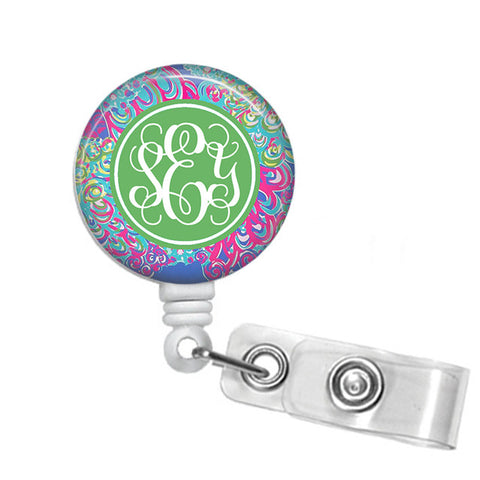 Badge Holder, Retractable Badge Reel - Lilly's Lagoon - Designs by Dee's Hands  - 1