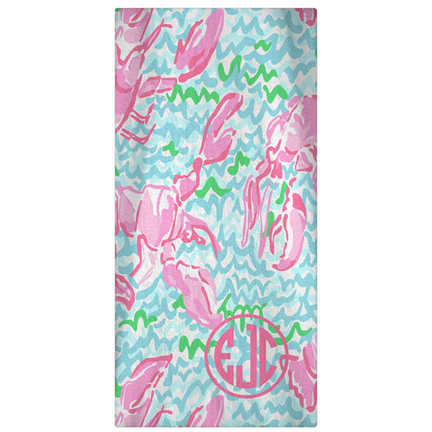 Personalized Beach Towel, Lobstah Roll Monogrammed Towel 60 x 30 - Designs by Dee's Hands