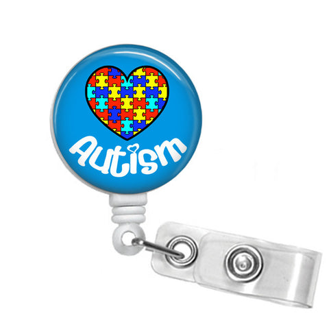 Autism ID Badge Reel - Name Badge Holder - Blue - Designs by Dee's Hands  - 1