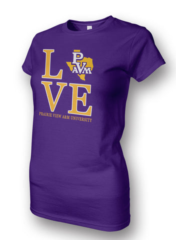 PVAM! Apparel - Prairie View A&M Love Ladies Tee