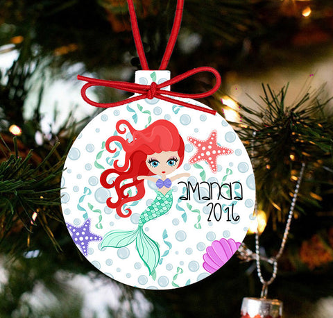Mermaid Personalized Christmas Ornament - Designs by Dee's Hands  - 1
