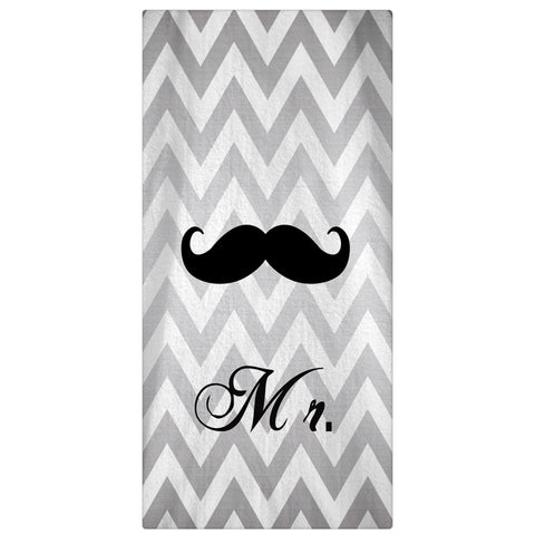 Mr. & Mrs. Honeymoon Beach Silver Chevron Towel 60 x 30 - Designs by Dee's Hands  - 1