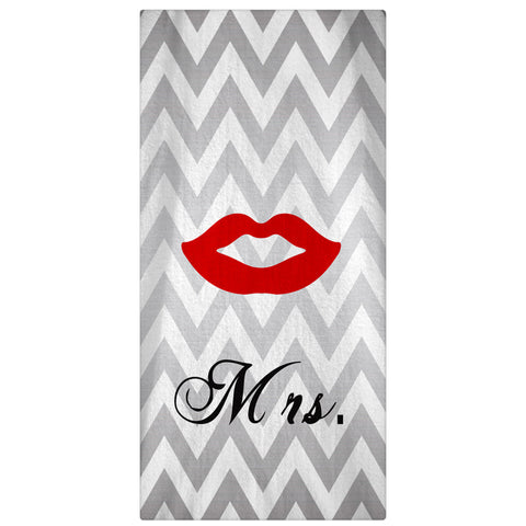Mr. & Mrs. Honeymoon Beach Silver Chevron Towel 60 x 30 - Designs by Dee's Hands  - 2