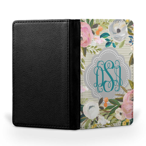 Personalized Passport Cover, Passport Holder - Muted Blooms II