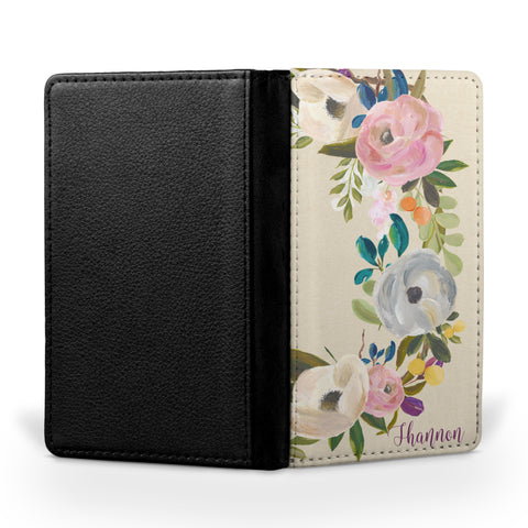 Personalized Passport Cover, Passport Holder - Muted Blooms