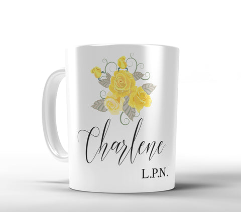 Yellow Tea Roses Personalized Coffee Mug - Designs by Dee's Hands