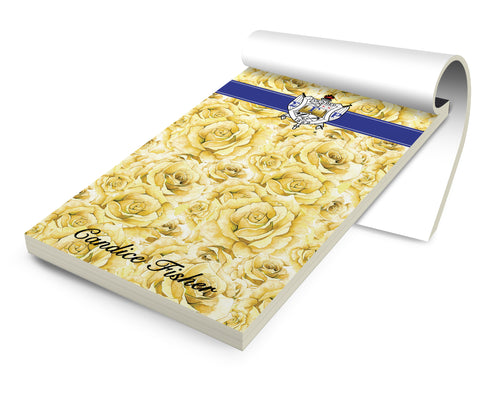 Personalized Stationery Notepad, Sorority SGRho Tea Roses - Designs by Dee's Hands