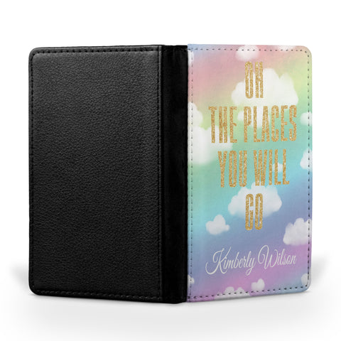 Personalized Passport Cover, Passport Holder - Oh the Places You will Go - (Glitter Image)
