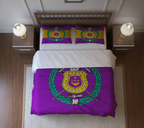 RQQ! Home - Fraternity Duvet Cover or Comforter Set - Omega Psi Phi Fraternity - Designs by Dee's Hands