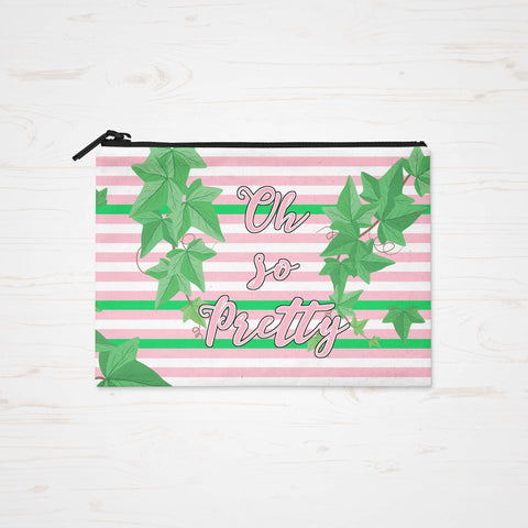 Skee Wee! Accessories - Accessory Bag, Makeup Pouch, Personalized Zippered Pouch - Oh So Pretty Alpha Kappa Alpha