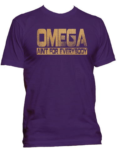 RQQ! Apparel - Omega Mens Tee - Omega Ain't for Everybody TShirt, Purple and Old Gold