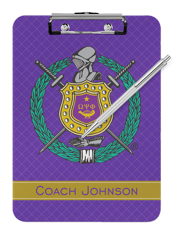 Omega Psi Phi Fraternity Personalized Dry Eraseable Clipboard - Designs by Dee's Hands