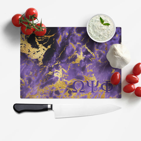 RQQ! Home - Omega Psi Phi Tempered Glass Cutting Board