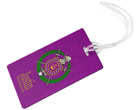 RQQ! Travel - Omega Psi Phi Personalized Luggage Tag or Briefcase Tag - NEW DESIGN - Designs by Dee's Hands