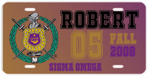 RQQ! Travel - Personalized License Plate Car Tag - Omega Psi Phi - Designs by Dee's Hands