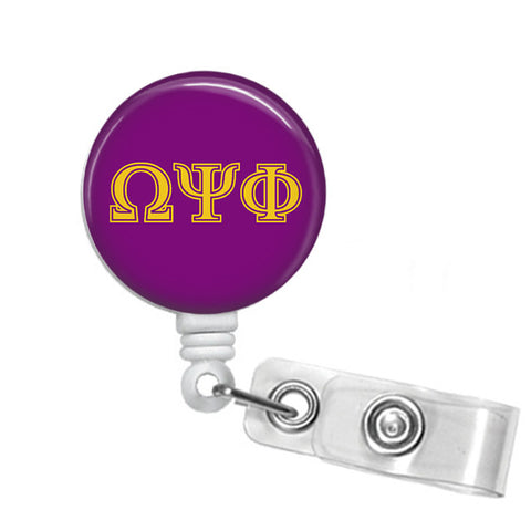 RQQ! Office - Omega Psi Phi Greek Letters Name Badge ID Holder - Designs by Dee's Hands  - 1