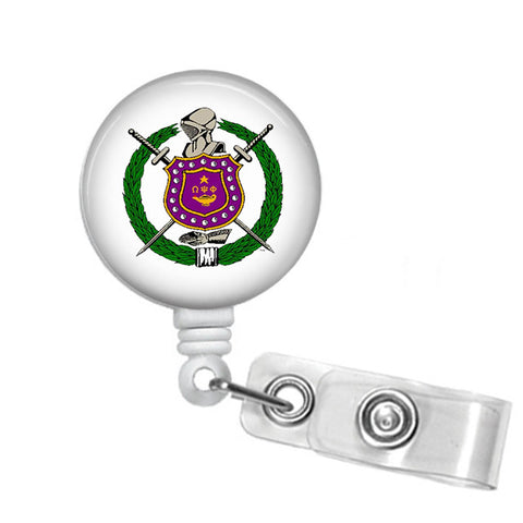 RQQ! Office - Omega Psi Phi Fraternity Shield Name Badge ID Holder - Designs by Dee's Hands  - 1