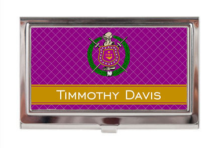 Business Card Case - Omega Psi Phi Fraternity Personalized - Designs by Dee's Hands  - 1