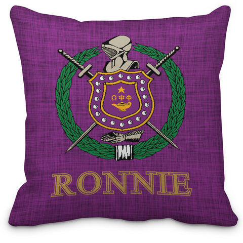 ΩΨΦ Personalized Fraternity Pillow, Omega Psi Phi Fraternity Chapter Piillow - Designs by Dee's Hands