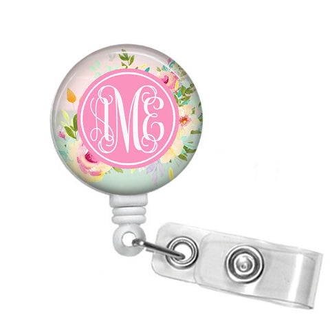 Badge Holder, Monogrammed Retractable Badge Reel - - Designs by Dee's Hands  - 1