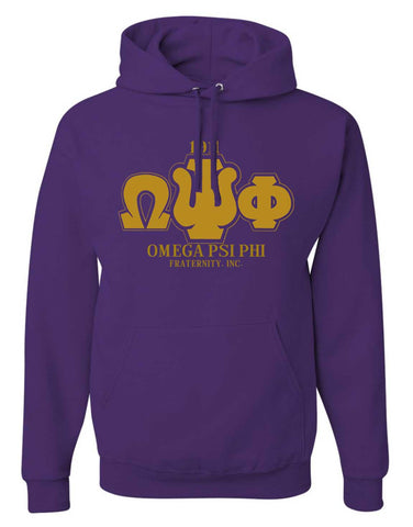 RQQ! Apparel - Omega Psi Phi - Greek Letters Mens Hoodie or Tee - Designs by Dee's Hands  - 1