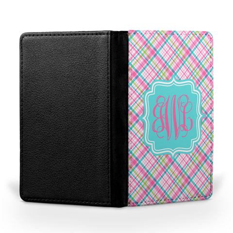 Personalized Passport Cover, Passport Holder - Pink Passion Plaid