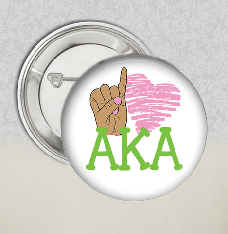 AKA - Pinky Love AKA Sorority Buttons - Designs by Dee's Hands