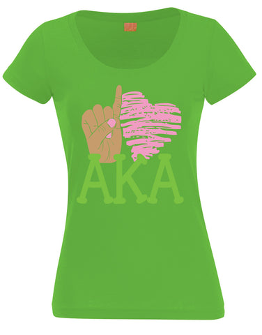 AKA - Pinky Love Ladies Tee - Designs by Dee's Hands  - 1